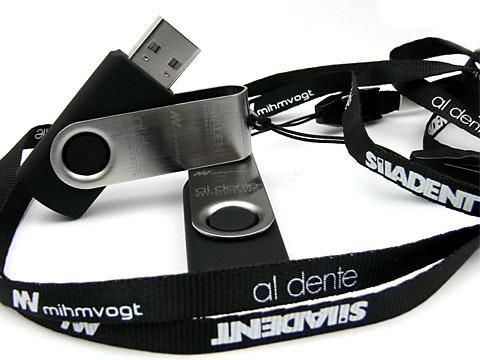 Lanyard USB-Stick Umhaengeband schwarz, Lanyard 7 mm