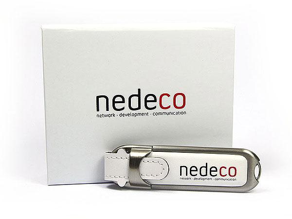 Leder USB-Stick-02 weiss nedeco aufdruck, Leder.02