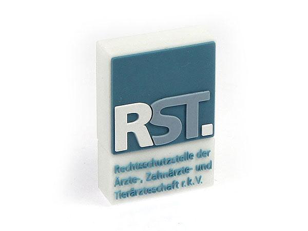 Logo rechteckig, grünblau, pvc, weiß, CustomLogo, PVC
