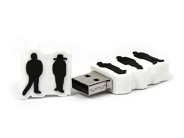 usb-stick-logo-freiform-100.html, Menschen, Folks, People, Logo, weiß, Mann, Hut, CustomLogo, PVC, USB Menschen