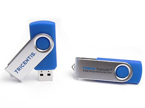 Metall-01 blauer USB-Stick bedruckt, Metall.01