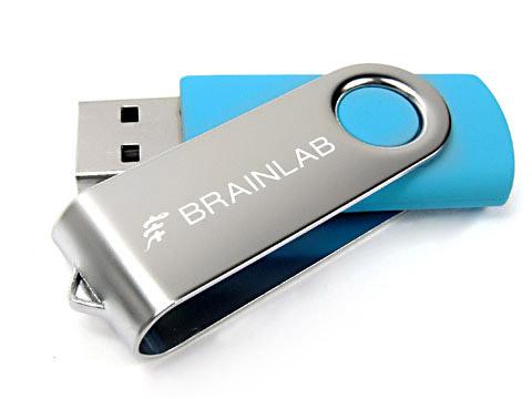 Metall-01 USB-Stick hellblau graviert brainlab, Metall.01