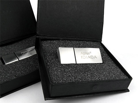 Metall-09 USB-Stick silber graviert, verpackt, deckel, Metall.09