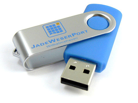 Metall Swing Buegel USB-Stick blau Aufdruck, Metall.01