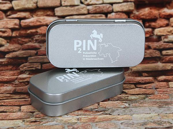 metallbox small blech silber aufdruck digitaldruck box