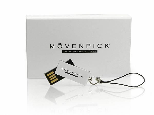 Mini USB Stick Micro mövenpick weiss logo aufdruck