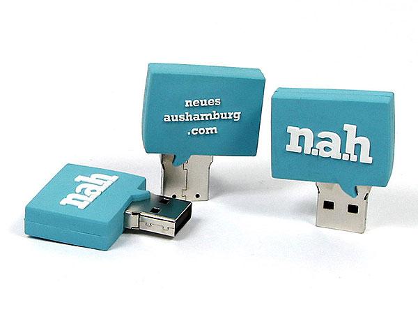 usb-stick-logo-freiform-100.html, Neues aus Hamburg, Logo, Firmenlogo, Sprechblase, blau, cyan, CustomLogo, PVC