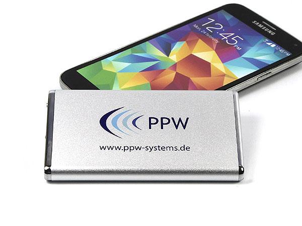 ppw, logo, bedruckt, power bank, werbegeschenk