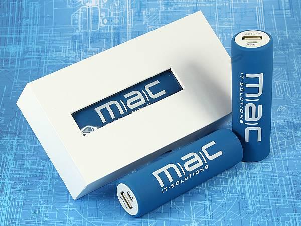 powerbank basic akku rund blau logo weiss verpackung