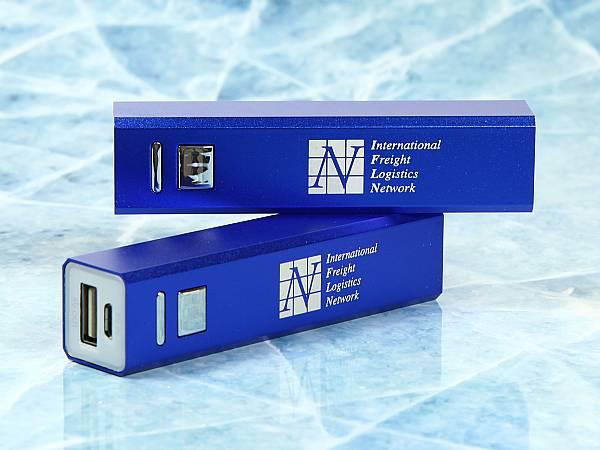 powerbank blau metall edel logo weiss