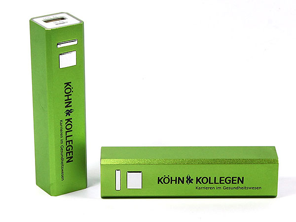 grün, powerbank, akku, ladegerät, handy, logo