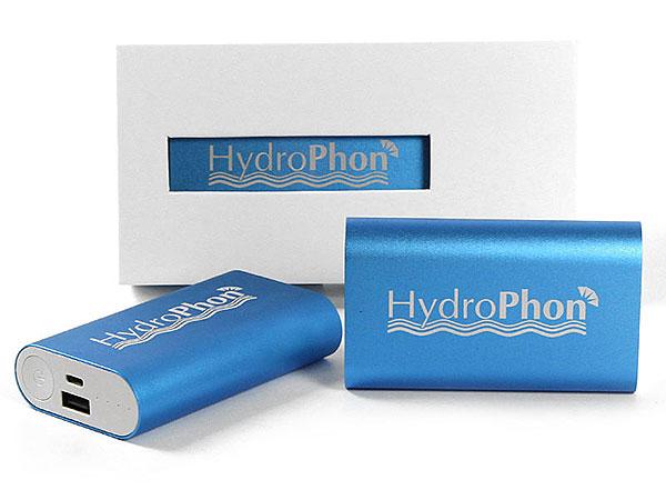 Hydrophon gravur logo blau metall power akku batterie