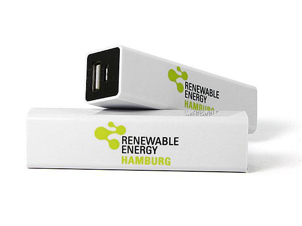 weiß powerbank logo aufdruck farbig energy akku