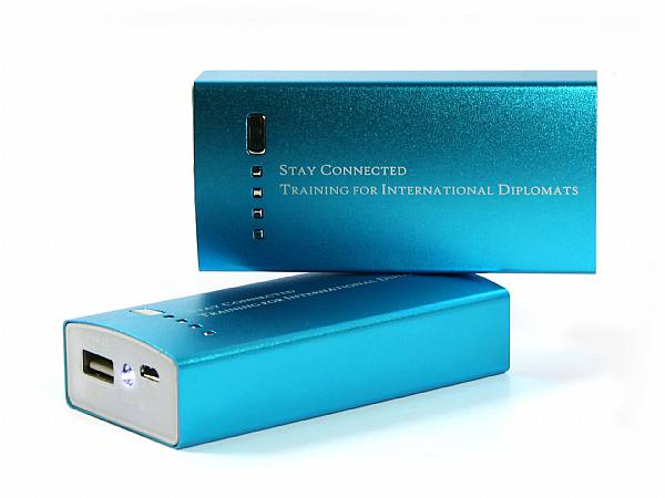 powerbank metall blau logo gravur
