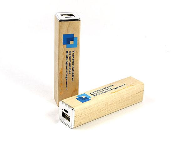 akku batterie druck 2farbig holz power bank logo werbeartikel