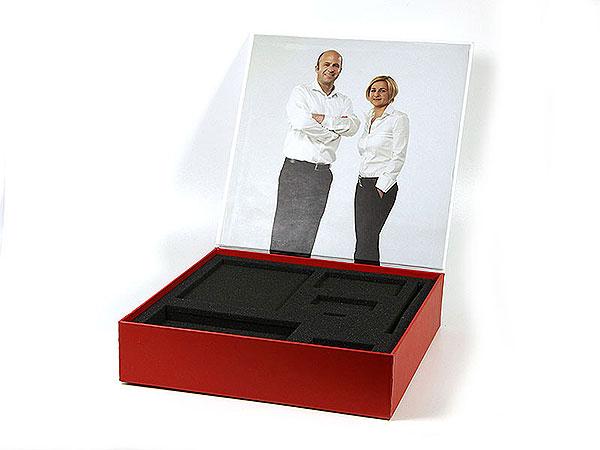 Praesentationsverpackung rot, Individuelle Klappbox digitaldruck