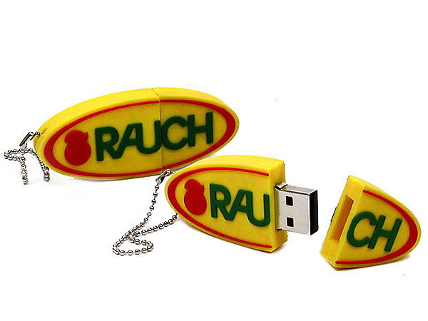 Logo oval, eigener USB-Stick, Individuell, Oval, gelb, CustomLogo, PVC