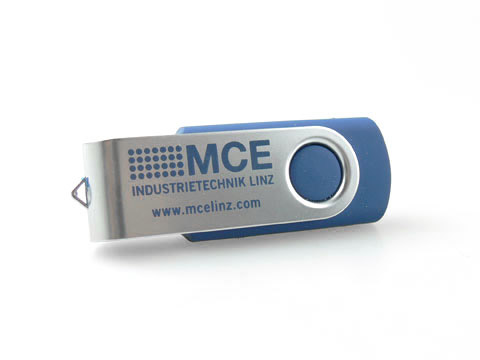 Swing USB-Stick Metall-Buegel blau bedruckt, Metall.01