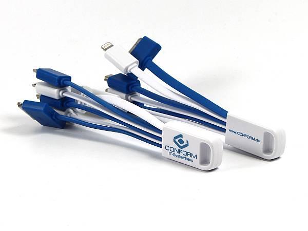 USB Adapter Kabelpeitsche Logo charging buddy blau