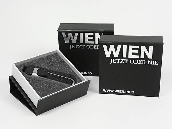 usb geschenkverpackung silberdruck heißfolienprägung silber edel hochwertig