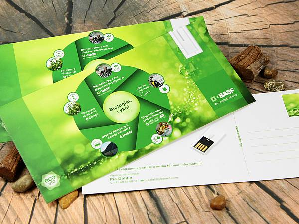 USB Karten Mailing Card USB Stick Digitaldruck postkarte werbeartikel logo BASF