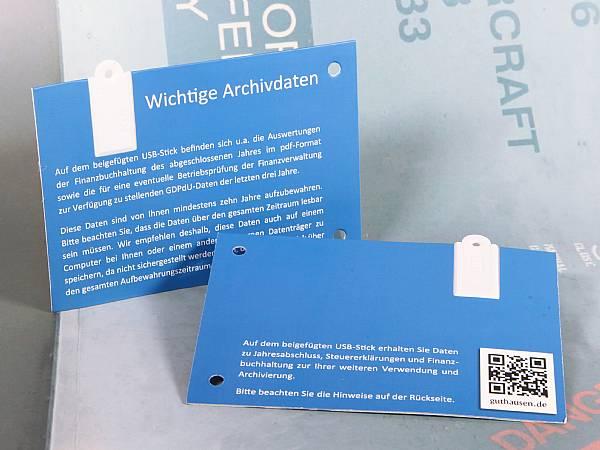 usb postkarte paper papier werbung lochung karte