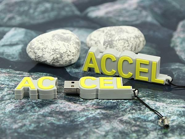 usb stick accel logo custom gelb weiss