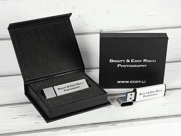 usb stick aluminium schlicht edel silber logo werbung