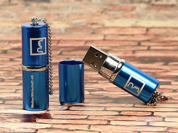 usb stick blau glanz metall logo silber