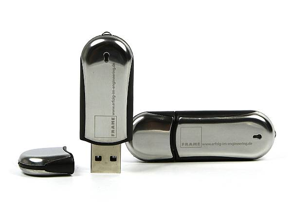usb stick chrom oval silber glanz logo