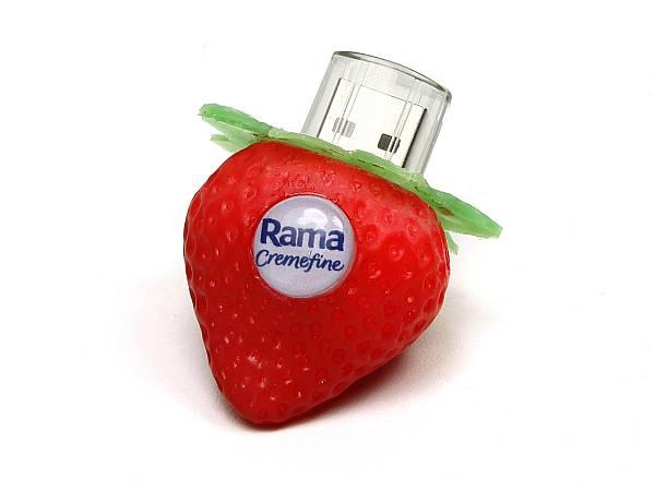 usb stick erdbeere kunststoff frucht logo