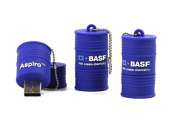 usb stick fass öl BASF chemie blau logo