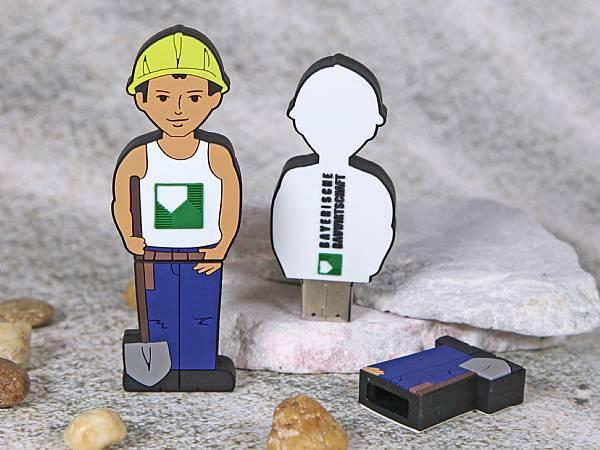 usb stick figur bauarbeiter arbeiter sonderform logo werbung