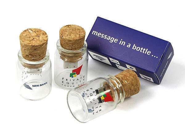 usb stick flaschenpost korgen glas flasche logo