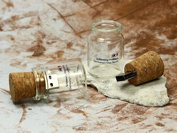 usb stick flaschenpost kork glas öko logo druck