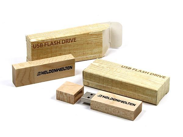 usb stick holz hellbraun verpackung logo