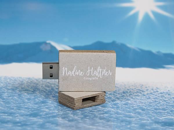 usb stick karton natur grau digitaldruck