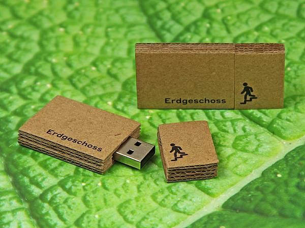 usb stick karton pappe natur werbung logo