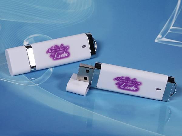 usb stick kunststoff flach edel weiss logodruck