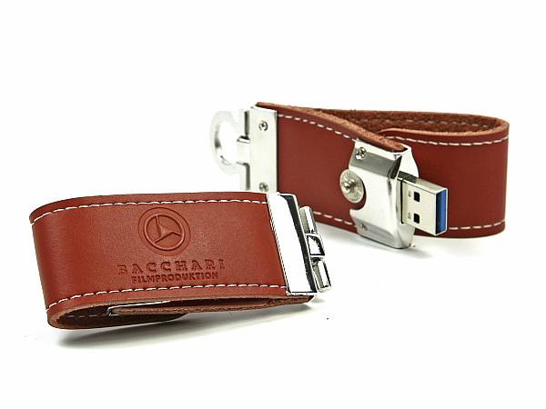 usb stick leder guertel braun silber logo highspeed USB3 prägung