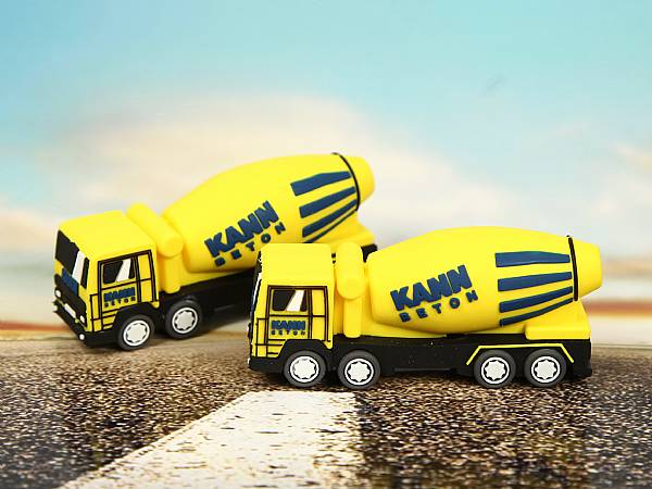 usb stick lkw betonmischer fuhrpark transport gelb logo