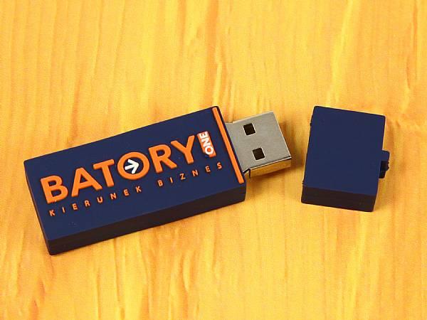 usb stick logo rechteckig kunststoff blau orange