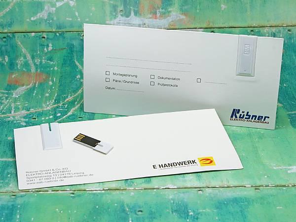 usb stick mailing card papierkarte karte werbung