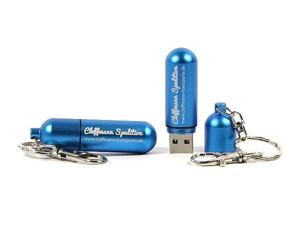 usb stick metall kapsel pille blau logo