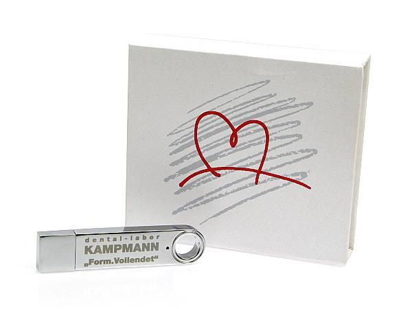 usb stick metall matt silber verpackung weiss geschenkbox
