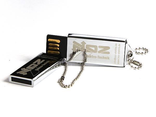 usb stick metall silber glanz mini kette logo