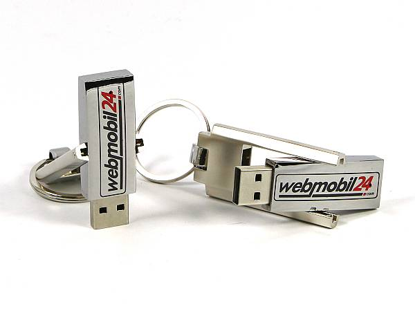 usb stick metall swing silber schluesselring ring logo