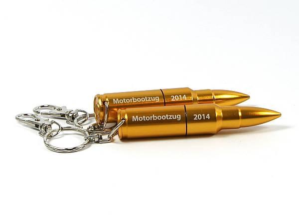 usb stick munition pistolenkugel gewehr schluesselring karabiner gold logo