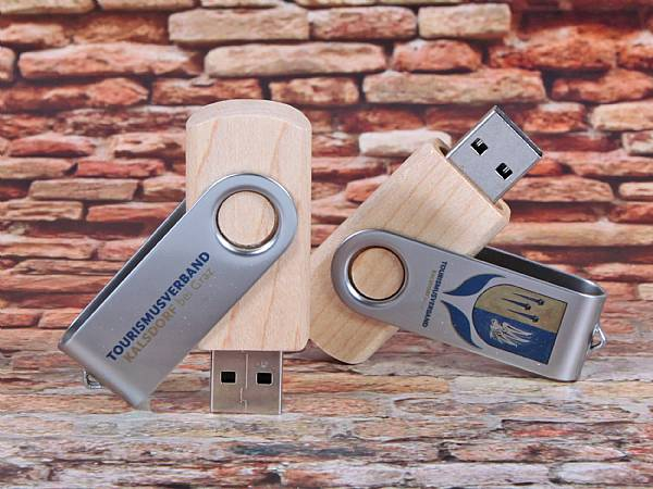 usb stick natur twister drehbar buegel metall digitaldruck