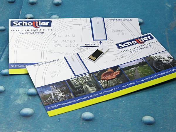 usb stick postkarte din lang werbung flyer logo
